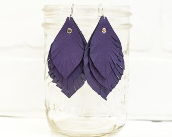 recycled, leather feather earrings, leaf earrings, boho earrings, earrings, purple earrings, feather earrings, tassel earrings, stacylynnc