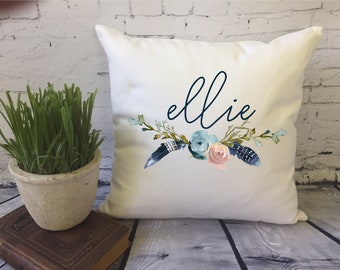 personalized floral throw pillow, boho floral pillow, personalized decorative throw pillow cover, pink blue feathers, baby shower gift, kids