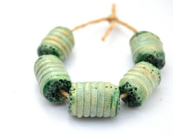 5 Green - Blue Ceramic Beads, Textured Tube Beads, Handmade Clay Beads, Artisan Beads, Jewelry Supplies, Full Of Space