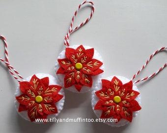 Felt Ponsettia Christmas Ornament/Decoration. Red Poinsettia Christmas Bauble/Decoration/Ornament
