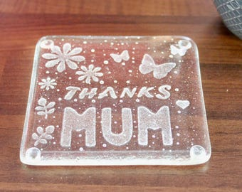 Thanks Mum Fused Glass Coaster / Birthday Gift for Mum / Mothers Day Handmade Gift / Gift for her