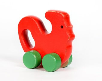 Vintage Baby Toy-wooden rooster on Wheels