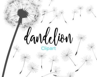 Dandelion Clipart, Dandylion, Blowing Dandelion, Vector Graphics, Clip Art, Illustration - Instant Digital Download