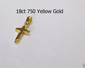 18ct 750 Yellow Gold Crucifix Cross Pendant Jewellery Genuine NEW