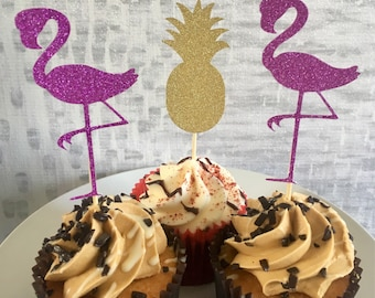Glitter flamingo & pineapple cupcake toppers picks pink gold x12