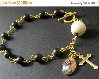 MOTHERS DAY SALE Bone Rosary Bracelet in Black and White - Sacred Vow. Handmade Rosary.