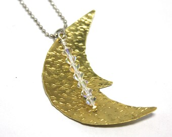 Moon Necklace Pendant with Swarovski Crystal Charm