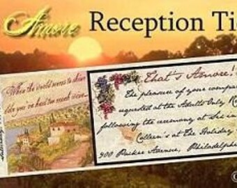 Wedding Reception Ticket Favors Tuscan Amore qty 50