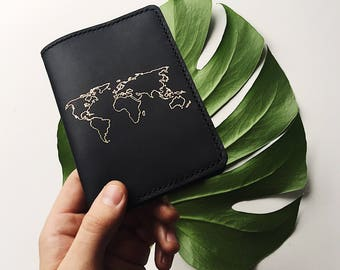 Passport Holder, Leather Passport Cover, Passport, Leather Cover, Passport Case, Passport Wallet, World Map, Leather Wallet, Personalized