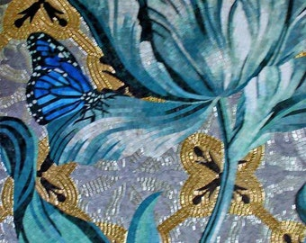 Blue Lagoon Flower With Butterfly on Glass Mosaic Mural