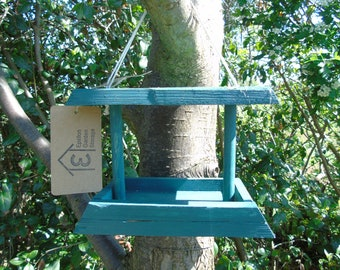 Small wooden hanging bird feeder / table handmade from reclaimed wood (10% of every sale to RSPB)