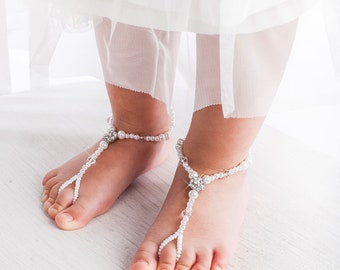 Flower girl barefoot sandals, Beach wedding accessory, Girl beach shoes, Baby barefoot sandal, Christening shoes, Baby Shower Gift, Baptism