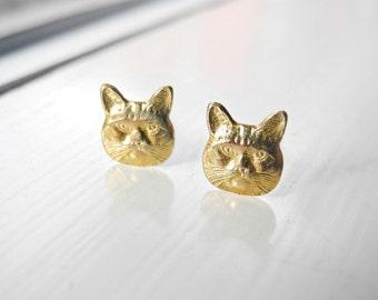 Cat Earring Studs, Pet Jewelry, Cat Lady, Sterling Silver Earrings, Animal Cat Kitten Jewelry, Sterling Silver Hypoallergenic Studs (E236)