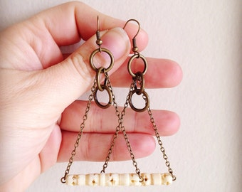 Carved Bone Boho Earrings Organic Mixed Media Collection
