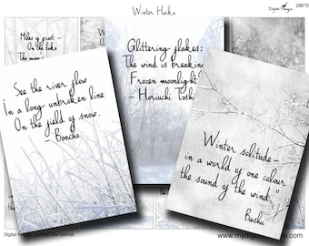 Winter Haiku Digital Collage Sheet Printable Download Atc tags Christmas tags of snow frost ice trees images winter landscape and poetry