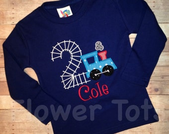 Train Birthday Shirt with Tracks for the Number-personalized, custom, applique, monogrammed