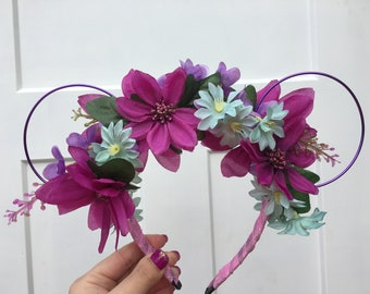 Floral Purple Wire Minnie Mouse Ears Headband