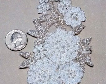 E-163 White and Silver Floral Applique with Clear Glass Seed Beads