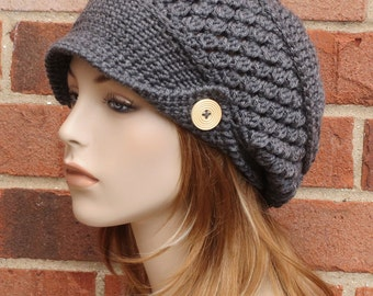 Crochet Newsboy Hat - Charcoal Grey Hat - Womens Slouchy Newsboy Beanie Hat - Winter Brimmed Slouchy Hat // THE FINLEY //