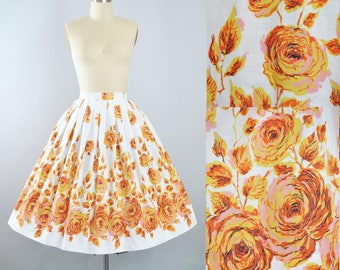 """Vintage 50s ROSE Print Skirt / 1950s Yellow Pink Orange Floral ROSES White Cotton Full Swing Pinup Garden Party 26"""" 26.5"""" High Waist Small"""