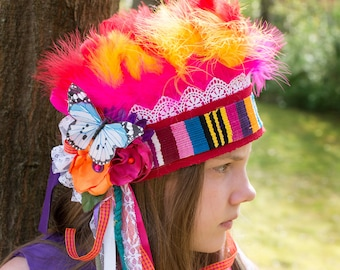 Rainbow Headdress- Bright Color Headdress- Feather Headdress- Fairy Headdress- Fairy Costume- Rainbow Fairy- Festival Clothing- Butterfly