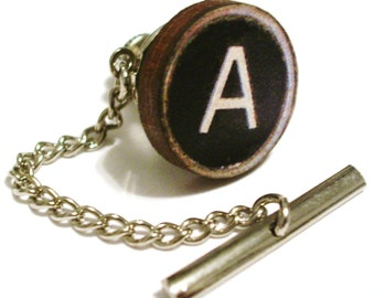Custom Wooden Typewriter Key Tie Tack Clutch and Chain -Choose your letter- FREE GIFT BAG-Retro Man Guys Dad Fun Gift 80's Dork Boy Groom Groomsmen Fathers day