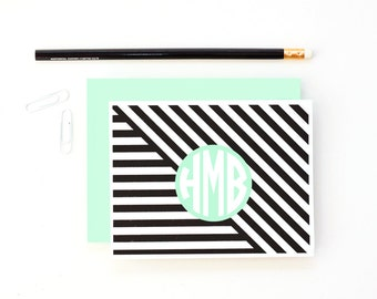 Monogram Stationery Personalized Stationary Custom Thank You Notes Mint Green Black Note Cards for Girls Modern Geometric Bridesmaid Gifts