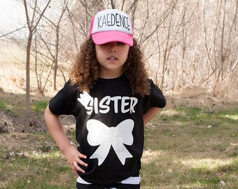 Kids Sister shirt, big sister shirt, pregnancy announcement shirt, girl siblings shirt, new baby announcement, promoted to big sister, girls