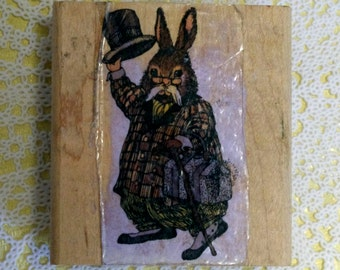 Wood Mounted Rubber Stamp Rabbit