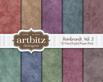 "Rembrandt, Vol. 3, 10 Piece Digital Scrapbooking Paper Pack, 12""x12"", 300 dpi .jpg, Instant Download!"