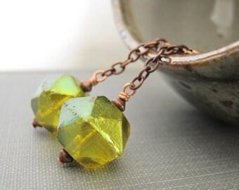 Green Earrings, Copper Earrings, Pear Green, Green Glass, Oxidized Copper, Glass Jewelry, Copper Jewelry, Czech Glass,
