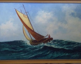 Original Oil Painting A Dutch Sailing Boat on the Rough Seas - 1930-1940