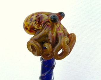 Red Yellow Textured Glass Octopus HairStick
