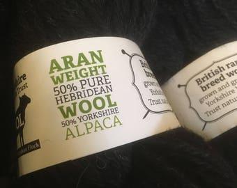 100g Large Hebridean Aran Knitting Wool - Chocolate - 100g skein - Yorkshire Wildlife Trust