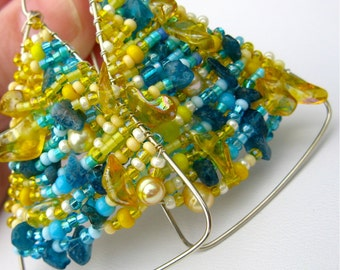 Clearance. Hand Beaded Triangle Earrings. LYDIA. sunny yellow and bright turquoise glass beaded . triangle nickel silver earrings