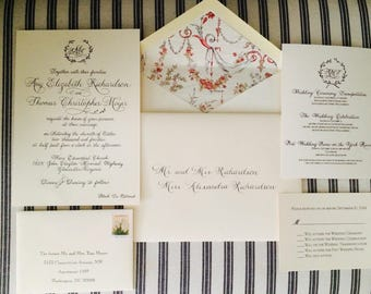 Custom calligraphy wedding invitation design and printing