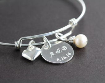 Wedding Gift Custom Engraved Personalized Bangle Bracelet, 925 Sterling Silver Jewelry
