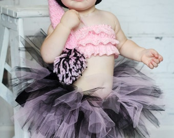 Baby Toddler Pink Black Tutu Set, 1st 2nd Birthday, Pageant Tutu Costume, Baby Shower Gift Set, Unique Baby Gift