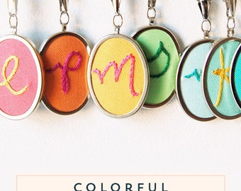 Personalized Jewelry. Initial Necklace Hand Embroidery Pendant Necklace Initial Jewelry Custom Gifts for Women Under 50 Colorful Necklace...