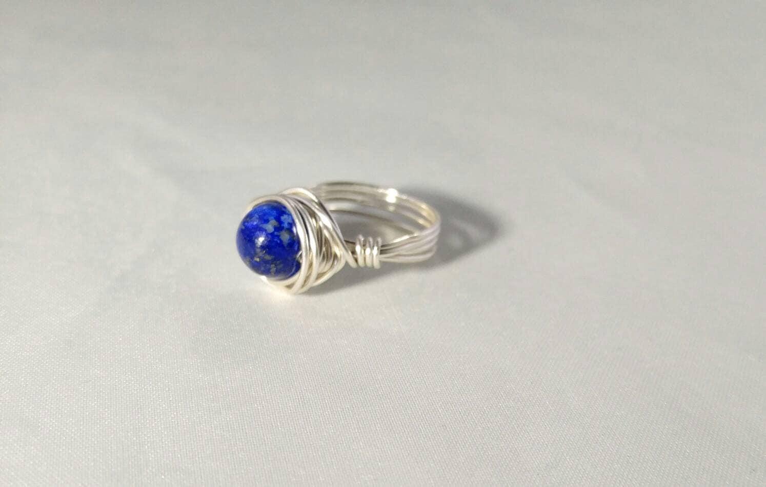 Lapis Handmade Wire wrapped Ring~Handmade Gemstone Jewelry~Handmade ...