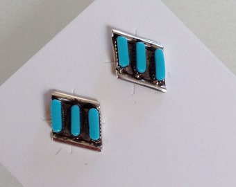 Native American Zuni Turquoise Sterling Petit Point Post Earrings