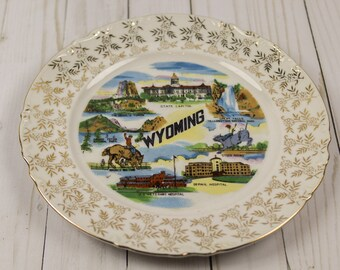 Vintage Wyoming State Souvenir Kitschy Plate