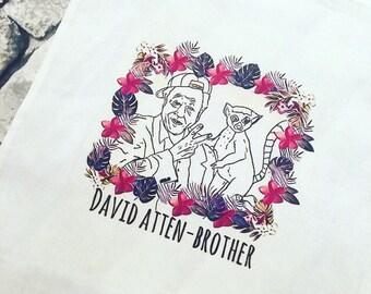 David Attenborough hand illustrated tote bag