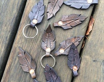 Feather Fob Chain Handtooled Leather