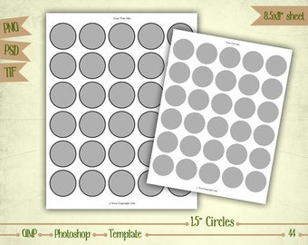 """1.5"""" Circles - Digital Collage Sheet Layered Template - (T044)"""