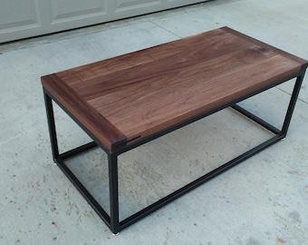Walnut Breadboard Coffee Table with Steel Base