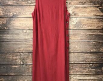 Olivia Rose Linen Jumper Dress Sleeveless Side Button Maxi Modest Sienna Red Plus Size 20W