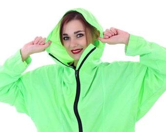 90s Neon Windbreaker Pullover Jacket 80s Vintage Neon Green Hooded Hoodie Black Zipper 1990s Workout Running Surf Retro Unisex Large L M