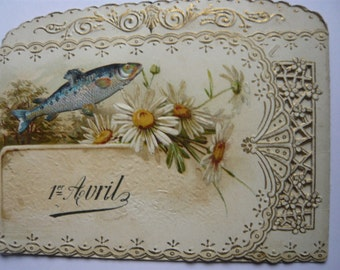 April fools day April 1st french old card Poisson d'avril art and collection end 19th early 20th greeting card fish flowers