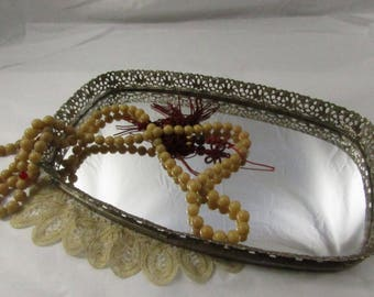 Vintage Gold Filigree Vanity Tray Mirrored Perfume Tray Rectangular Cottage Chic French Mid Century Style Home decor